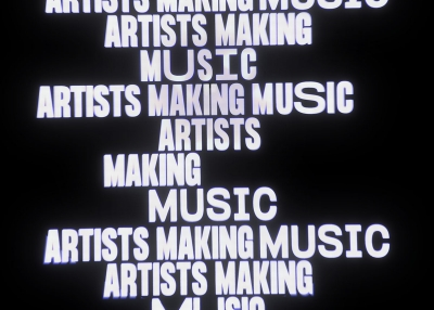 "The text ""artist making music"" repeats in all caps in a column of varying width against a black background"