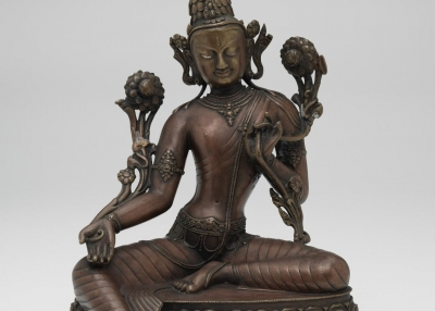 Nepalese Avalokiteshvara, 15th century copper alloy, silver, pigment, gilt 32.8 × 27.0 × 24.0 cm National Gallery of Victoria, Melbourne Purchased, 1975