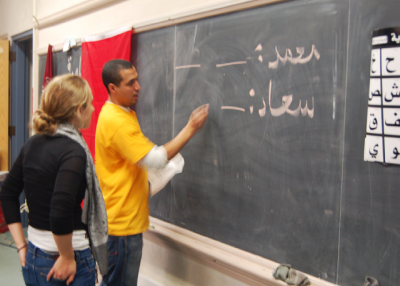 A student learning Arabic--alongside leaderships skills--in the OneWorld Now! program. Photo: Asia Society.