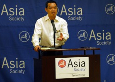 Andrew Lam addresses the Asia Society in Houston. (Asia Society)