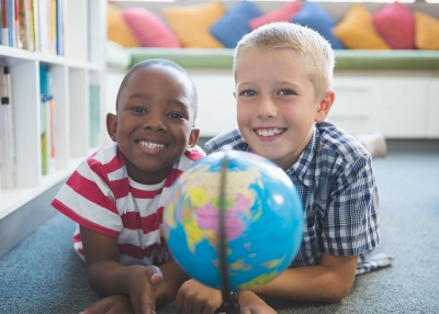 Students with a globe