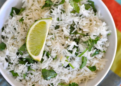 Cooked cilantro lime dish basmati rice India