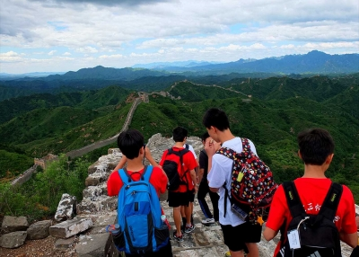 Students from CAIS in China at the Great Wall