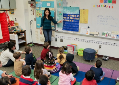 A teacher instructs a classroom of students