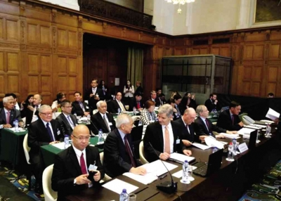 PH officials and lawyers at the Peace Palace in The Hague. Photo Credit: Philippine Daily Inquirer