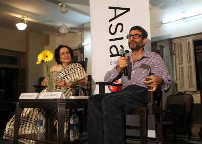 Bachi Karkaria (L) and Cyrus Mistry (R) in Mumbai on August 8, 2014. (Asia Society India Centre)