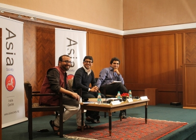 (L to R): Mihir Sharma, Gaurav Gupta and Sajjid Chinoy in Mumbai on March 13, 2015 (Asia Society India Centre)