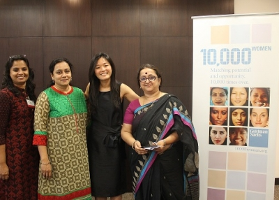 Wenchi Yu [Second from the Right] and the Three Graduates from India [L]