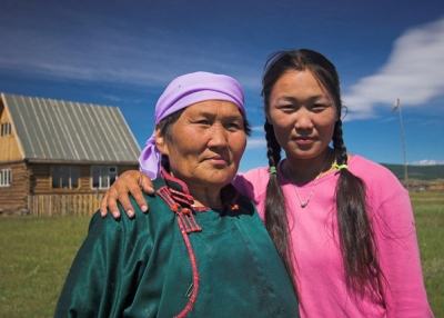 Mother and daughter in Mongolia.