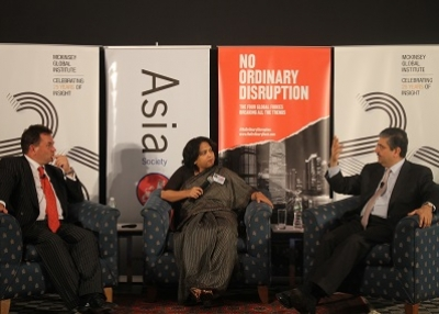 [L to R] Richard Dobbs, Anu Madgavkar, and Uday Kotak