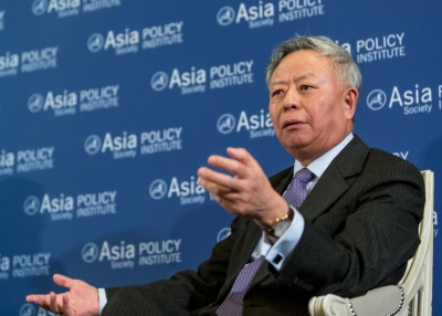 AIIB President Jin Liqun speaks at an Asia Society Policy Institute event in Washington D.C. on April 13, 2016. (Nick Khazal / Asia Society)