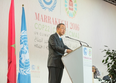 "UN Secretary-General Ban Ki-moon speaking at the ""High Level Event on Accelerating Climate Action"" during the Marrakech climate conference in Morroco on November 17, 2016. (UNclimatechange / Flickr)"