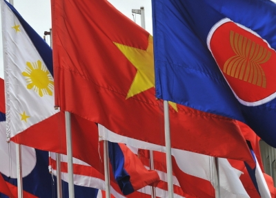 Flags of Southeast Asian nations fly in Hanoi ahead of the 16th ASEAN Summit, 2010. (Hoang Dinh Nam/AFP/Getty Images)