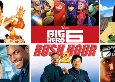 Top: The Way of the Dragon (1972), Big Hero 6 (2014), Mulan (1998); Bottom: Rush Hour (1988), Rush Hour 2 (2001), Karate Kid (1984)