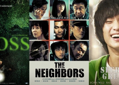 "L to R: ""Moss"", ""The Neighbors"", ""Secretly, Greatly"""