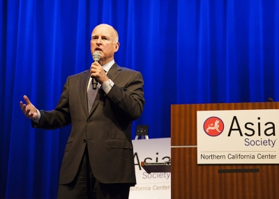 California Governor Jerry Brown gives opening remarks to kickoff ASNC's CA-Climate Change event