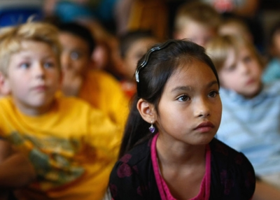 Second graders watch as President Obama delivers a back-to-school address to school children on September 8, 2009 in Denver, Colorado (John Moore/Getty Images)