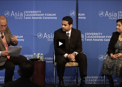 Fabian DeRozario, Mohammed Farshori, and Sharmila Fowler in conversation at Asia Society's 2018 Corporate Insights Summit.