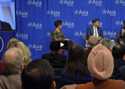 James Crabtree, Somini Sengupta, Ravi Agrawal, and Arundhati Katju at Asia Society New York.