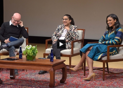 Reshma Saujani, Nina Davuluri, and Andrew McLaughlin at Asia Society New York