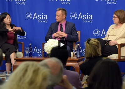 Yanan Wang, Marcus Brauchli, and Marjorie Miller at Asia Society New York.