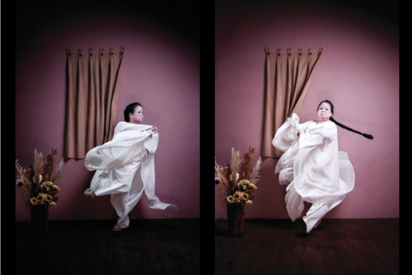 Two photos of performance artist Melati Surydarmo placed side by side.