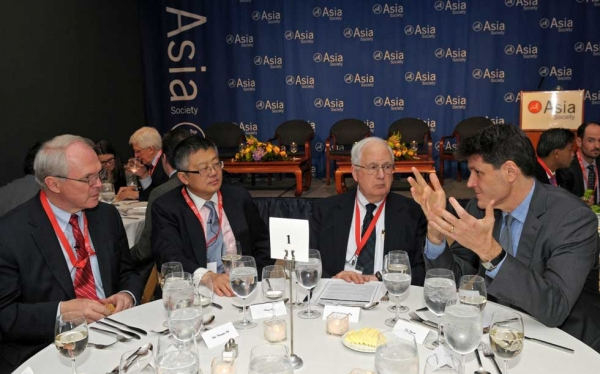 L to R: Christopher Hill, Huang Jing, J. Stapleton Roy, and Asia Society Executive Vice President Tom Nagorski at the conference opening dinner on March 13, 2013. (Elsa Ruiz/Asia Society)