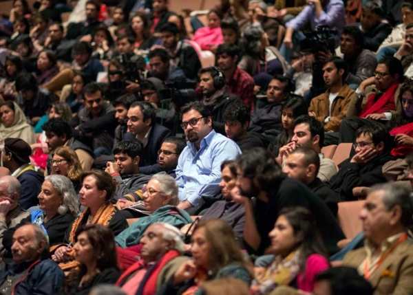 The crowd at the Alhamra Art Center on February 23, 2013, Day 1 of the Lahore Literary Festival. (Saad Sarfraz Sheikh)