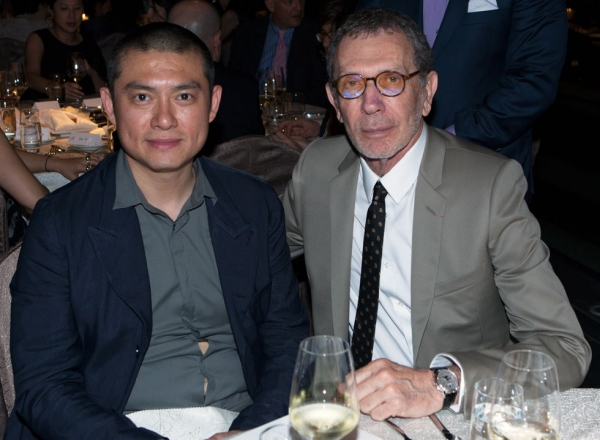 Beijing-based painter Li Songsong (L) with art dealer and Pace Gallery founder Arne Glimcher. (Eric Powell/Asia Society)