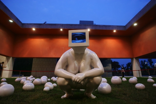 Lin Tianmiao: 'Gazing Back - procreating (outdoor),' 2009. Polyurea, automotive paint, television recordings. (Lin Tianmiao)