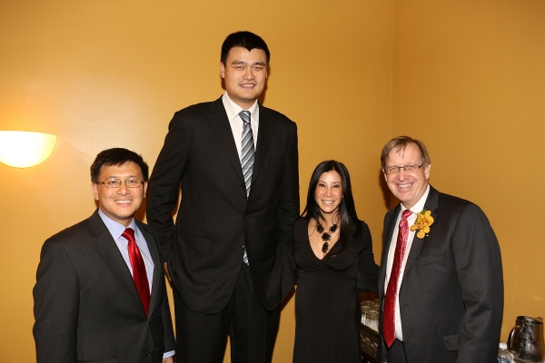 "From left, John Chiang, Controller State of California and is awarded ""Asian American Leader of the Year""; Yao Ming, honored as ""Visionary of the Year""; host journalist Lisa Ling and John W. Windler, Executive Director Asia Society Southern California pose during the Asia Society Southern California 2013 Annual Gala held at the Millennium Biltmore Hotel on Tuesday, February 19, 2013 in Los Angeles, Calif. (Photo by Ryan Miller/Capture Imaging)"