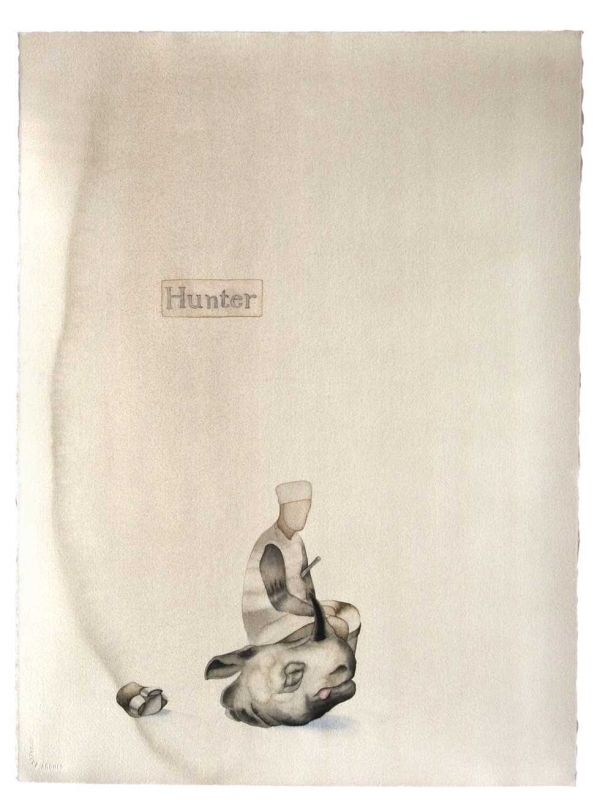 Hunter. 2007. 30 x 22 in. Watercolor on paper. (Atul Dodiya)