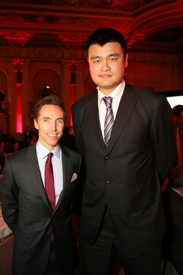 "From left, Steve Nash, LA Laker and Yao Ming, honored as ""Visionary of the Year"" pose during the Asia Society Southern California 2013 Annual Gala held at the Millennium Biltmore Hotel on Tuesday, February 19, 2013 in Los Angeles, Calif. (Photo by Ryan Miller/Capture Imaging)"