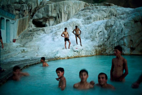 "The pool at Garam Chasma, in Tajikistan's Pamir Mountains. From ""Two Rivers."" (Carolyn Drake)"