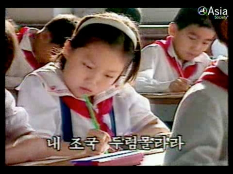 North Korean schoolchildren as depicted in an official government video.
