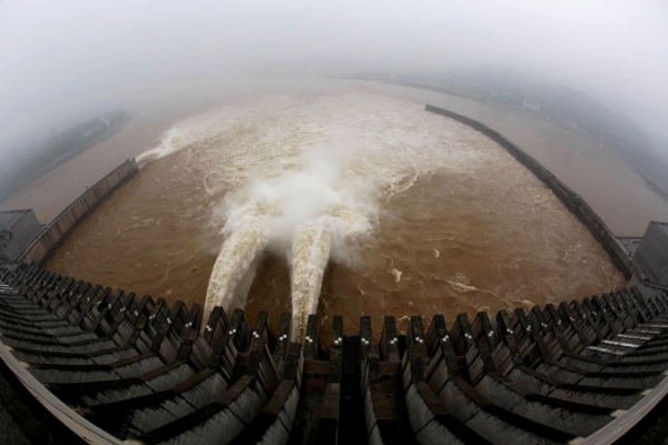 Release of water from the sluice for flood prevention at the Three Gorges Dam.