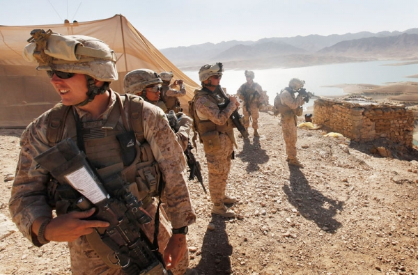 Newly arrived U.S. Marines get a tour of outposts in their area of operation above Forward Operating Base Zeebrugge on October 6, 2010 in Kajaki, Afghanistan. (Scott Olson/Getty Images)