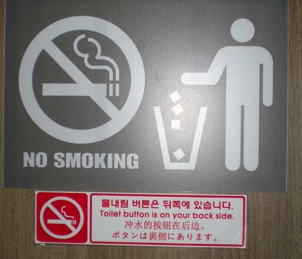 """Toilet button is on your back side."" (Asia Society Korea Center)"