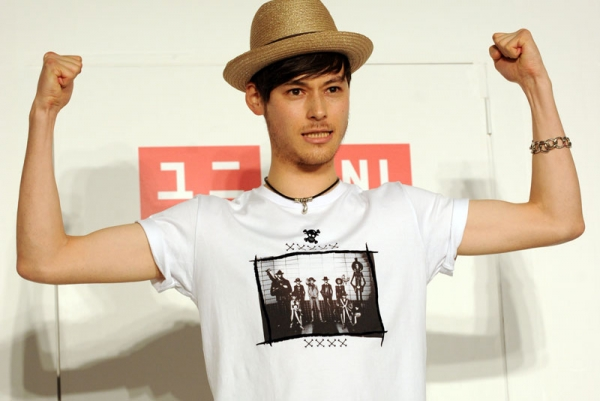 A model shows off a Uniqlo T-shirt (UT) brand Japanese Manga Animation, 'One Piece' T-shirt during a photo session in Tokyo on April 15, 2010. (Toshifumi Kitamura/AFP/Getty Images)