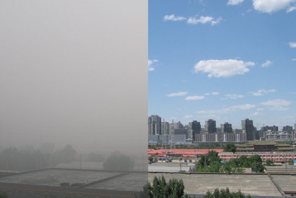 From L to R: Beijing air on June 19, 2009 and on June 22, 2009. (Asia Society Center on US-China Relations)