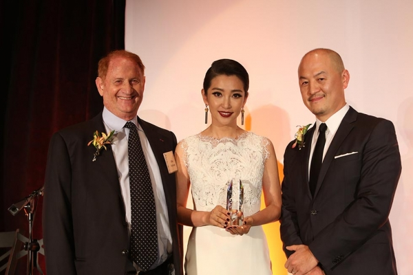 From left, Mike Medavoy, actress Li Bingbing and Peter Shiao, CEO Orb Media Group pose during the 2013 Asia Society U.S.-China Film Summit and Gala held at the Millennium Biltmore Hotel on Tuesday, November 5, 2013, in Los Angeles, Calif. (Photo by Ryan Miller/Capture Imaging)