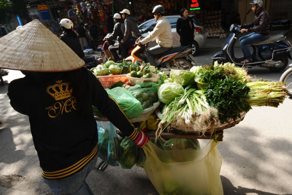 A vendor carries vegetables on a bicycle along a street in downtown Hanoi on December 17, 2010. The consumer-price index hit 11.1 percent in November, assuring that the full-year inflation rate will be a double figures. (Hoang Dinh Nam/AFP/Getty Images)