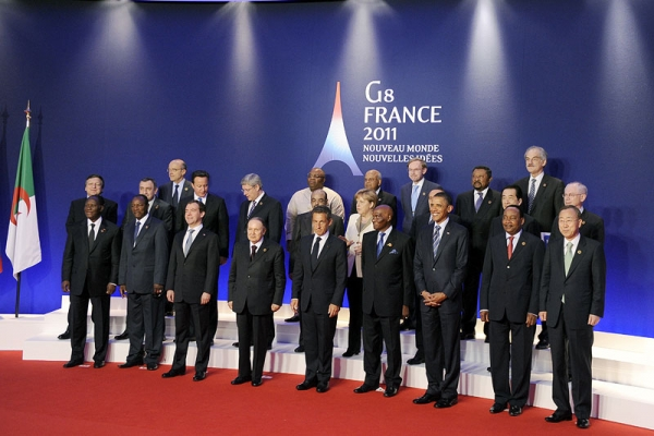 "G8 leaders pose with other delegates for a ""family photo"" on the sideline of the G8 summit in Deauville, northwestern France, on May 27, 2011. (Jewel Samad/AFP/Getty Images)"