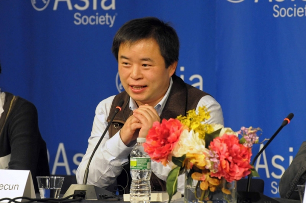 Chinese author Murong Xuecun speaks during the Chindia Dialogues at Asia Society in New York on Sunday, November 6, 2011. (Elsa Ruiz)