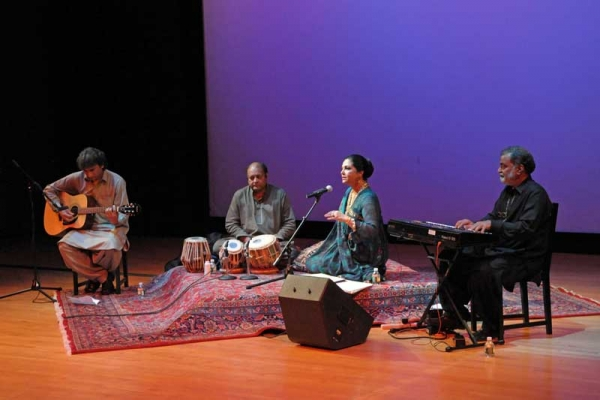 L to R: Sameer, Sabir, Tahira Syed and Azhar Hussain at Asia Society New York on Oct. 1, 2011. (Elsa Ruiz/Asia Society)