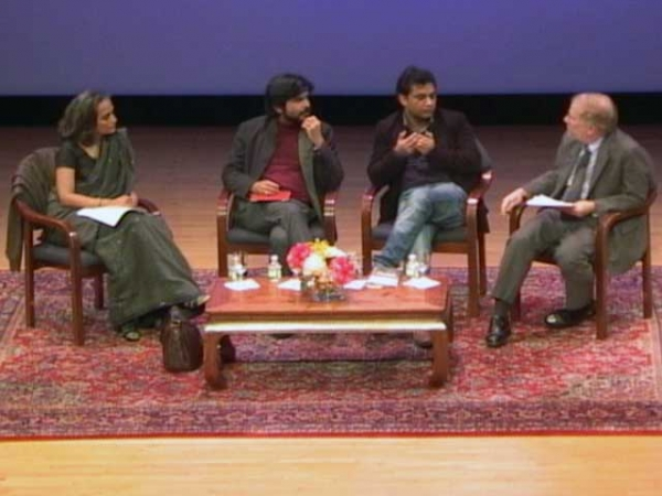 L to R: Arundhati Roy, Pankaj Mishra, Mohamad Junaid and Philip Oldenburg in New York City on November 11, 2011.