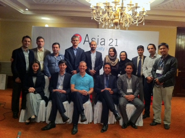 Tamim Asey (2nd row, 4th from L) and fellow Afghan leaders at Asia Society's Afghanistan Young Leaders Initiative (AYLI) in Kabul in Oct. 2011.