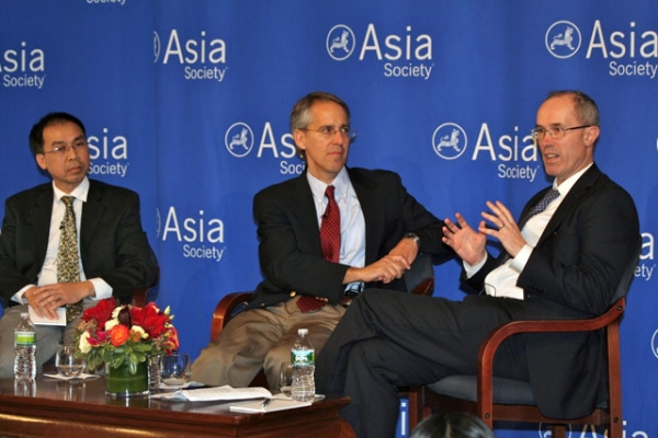 Tuong Vu, Jeffrey Wasserstrom and Richard McGregor at Asia Society's Bernard Schwartz Book Award luncheon in New York City on Dec. 1, 2011. (Bill Swersey/Asia Society)