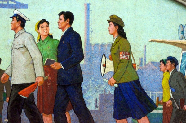 Propaganda art in the Pyongyang Metro in North Korea, photographed in August 2011. (Flickr/Joseph Ferris III)