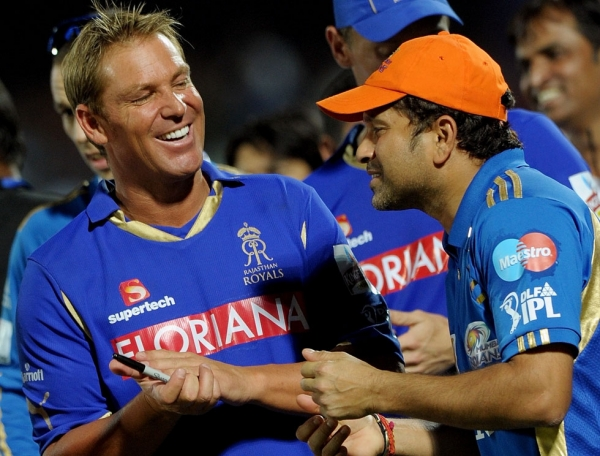 Rajasthan Royals captain Shane Warne (L) shares a moment with Mumbai Indians captain Tendulkar after Rajasthan's victory at the Swai Man Singh Stadium in Jaipur on April 29, 2011. (Manan Vatsyayana/AFP/Getty Images)